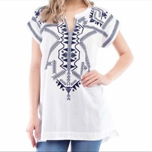 Solitaire Blue Embroidered White Cover Up